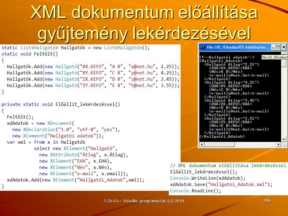 XML dokumentum előállítása gyűjtemény lekérdezésével J.Zs.Cs.: Vizuális programozás (c) 2014 206