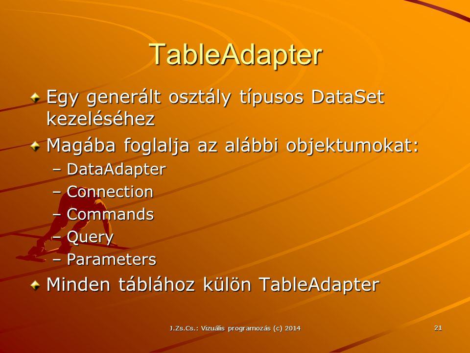 J.Zs.Cs.: Vizuális programozás (c) 2014 21 TableAdapter Egy generált osztály típusos DataSet kezeléséhez Magába foglalja az alábbi objektumokat: –Data