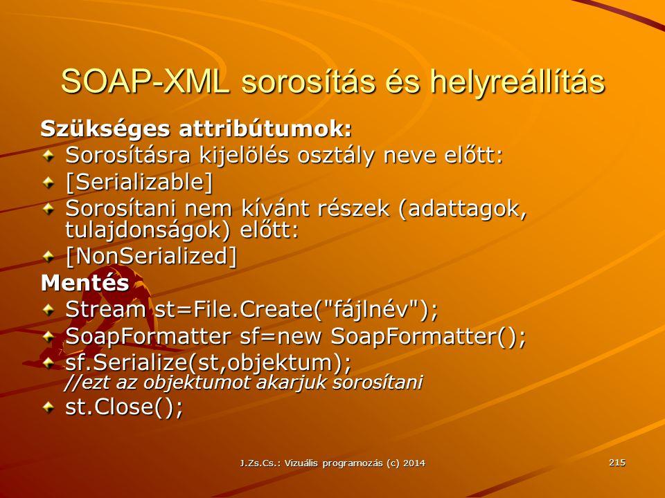 J.Zs.Cs.: Vizuális programozás (c) 2014 215 SOAP-XML sorosítás és helyreállítás Szükséges attribútumok: Sorosításra kijelölés osztály neve előtt: [Ser
