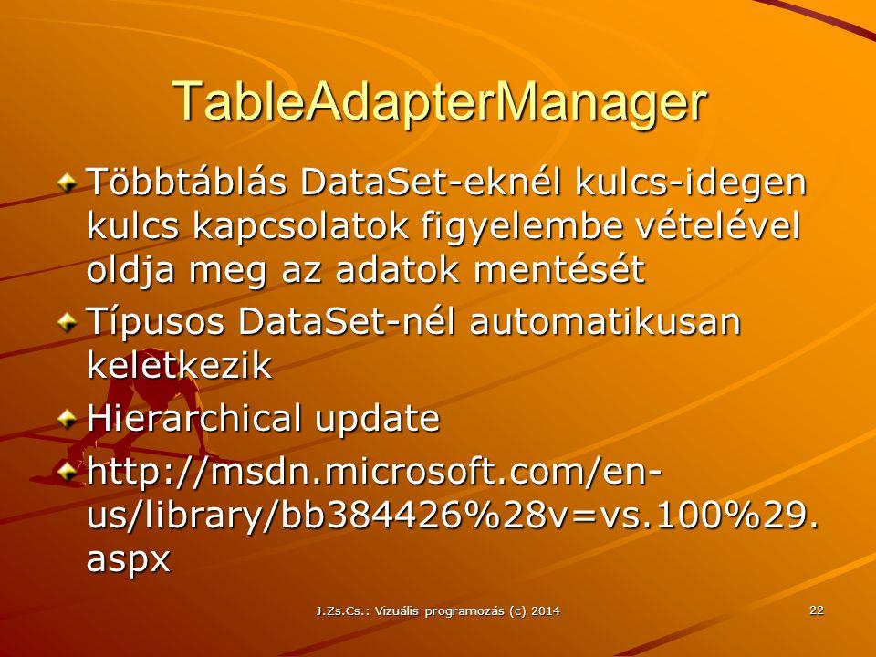 TableAdapterManager Többtáblás DataSet-eknél kulcs-idegen kulcs kapcsolatok figyelembe vételével oldja meg az adatok mentését Típusos DataSet-nél auto