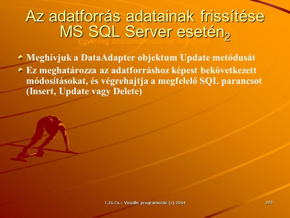 J.Zs.Cs.: Vizuális programozás (c) 2014 222 Az adatforrás adatainak frissítése MS SQL Server esetén 2 Meghívjuk a DataAdapter objektum Update metódusá