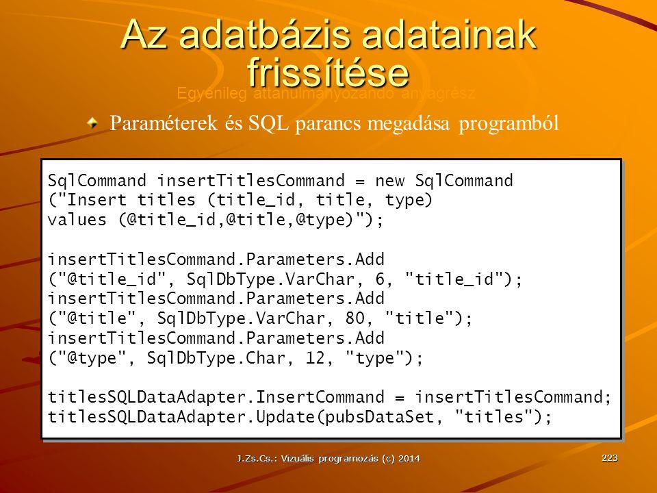 J.Zs.Cs.: Vizuális programozás (c) 2014 223 Az adatbázis adatainak frissítése SqlCommand insertTitlesCommand = new SqlCommand (
