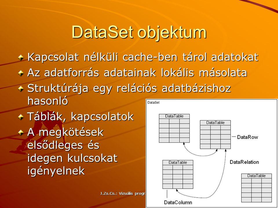 J.Zs.Cs.: Vizuális programozás (c) 2014 J.Zs.Cs.: Vizuális programozás (c) 2010 24 DataSet objektum Kapcsolat nélküli cache-ben tárol adatokat Az adat