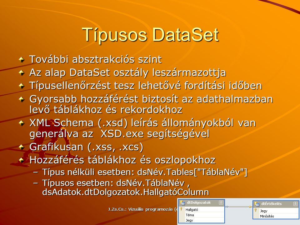 J.Zs.Cs.: Vizuális programozás (c) 2014 J.Zs.Cs.: Vizuális programozás (c) 2010 26 Típusos DataSet További absztrakciós szint Az alap DataSet osztály