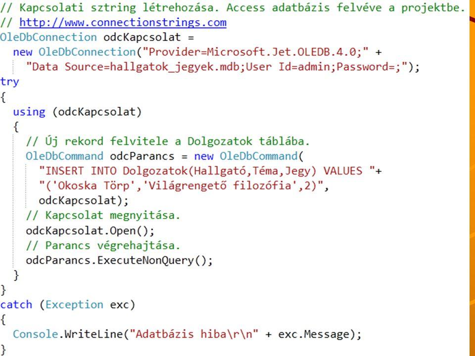 J.Zs.Cs.: Vizuális programozás (c) 2014 J.Zs.Cs.: Vizuális programozás (c) 2010 34 Kapcsolat alapú beszúrás példa