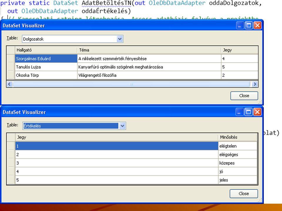Kapcsolat nélküli adatbeolvasás példa - típus nélküli DataSet J.Zs.Cs.: Vizuális programozás (c) 2014 37