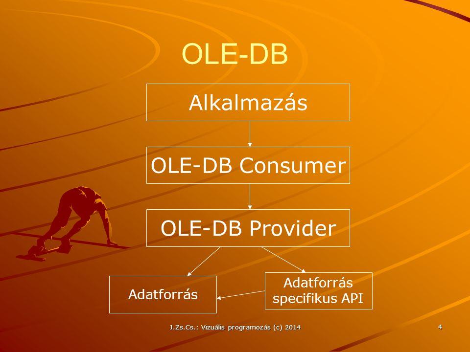 J.Zs.Cs.: Vizuális programozás (c) 2014 35 Kapcsolat nélküli adatbázis elérés – adatok beolvasása Kapcsolat létesítése az adatbázissal egy Connection objektum segítségével Command objektum létrehozása és a Connection objektumhoz kapcsolása SQL parancsok összeállítása DataAdapter/TableAdapter/ TableAdapterManager objektum(ok) létrehozása DataSet objektum(ok) létrehozása Adatok bemásolása a DataSet-be (DataTable) a Fill() metódus meghívásával