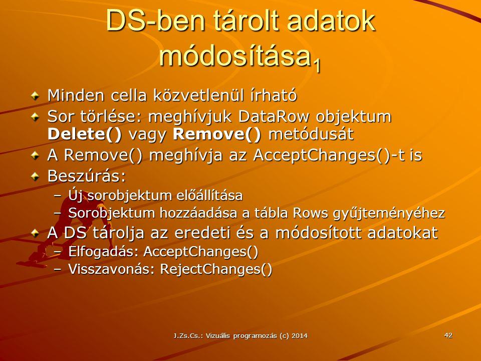 J.Zs.Cs.: Vizuális programozás (c) 2014 42 DS-ben tárolt adatok módosítása 1 Minden cella közvetlenül írható Sor törlése: meghívjuk DataRow objektum D