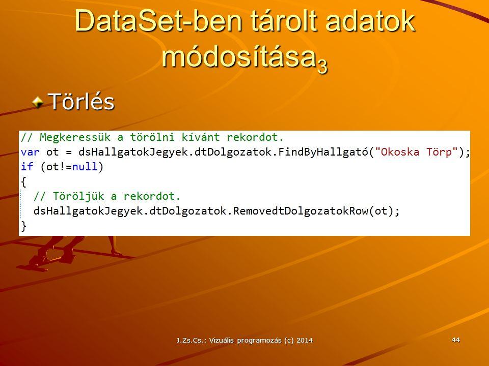 DataSet-ben tárolt adatok módosítása 3 Törlés J.Zs.Cs.: Vizuális programozás (c) 2014 44