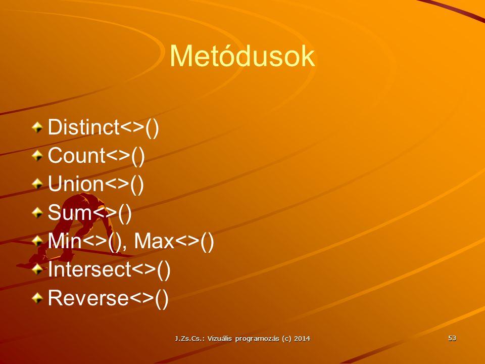 J.Zs.Cs.: Vizuális programozás (c) 2014 Metódusok Distinct<>() Count<>() Union<>() Sum<>() Min<>(), Max<>() Intersect<>() Reverse<>() 53
