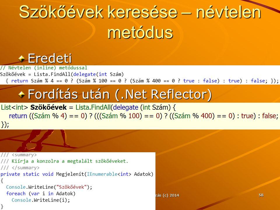 Szökőévek keresése – névtelen metódus Eredeti Fordítás után (.Net Reflector) J.Zs.Cs.: Vizuális programozás (c) 2014 58