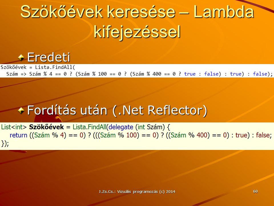 Szökőévek keresése – Lambda kifejezéssel Eredeti Fordítás után (.Net Reflector) J.Zs.Cs.: Vizuális programozás (c) 2014 60