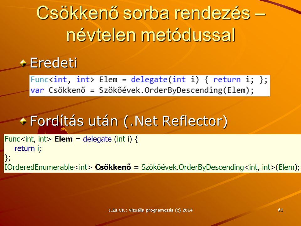 Csökkenő sorba rendezés – névtelen metódussal Eredeti Fordítás után (.Net Reflector) J.Zs.Cs.: Vizuális programozás (c) 2014 61