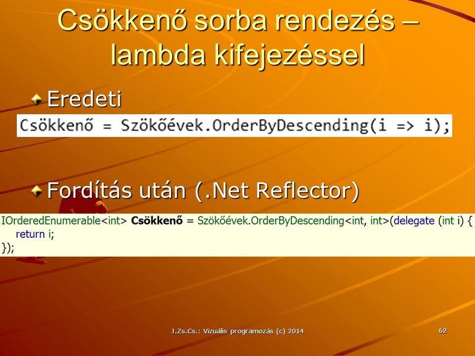 Csökkenő sorba rendezés – lambda kifejezéssel Eredeti Fordítás után (.Net Reflector) J.Zs.Cs.: Vizuális programozás (c) 2014 62