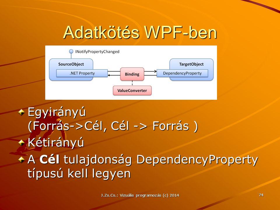 Adatkötés WPF-ben Egyirányú (Forrás->Cél, Cél -> Forrás ) Kétirányú A Cél tulajdonság DependencyProperty típusú kell legyen J.Zs.Cs.: Vizuális program