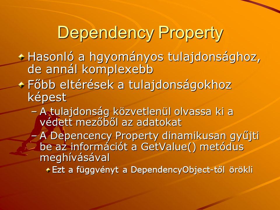 Dependency Property Hasonló a hgyományos tulajdonsághoz, de annál komplexebb Főbb eltérések a tulajdonságokhoz képest –A tulajdonság közvetlenül olvas