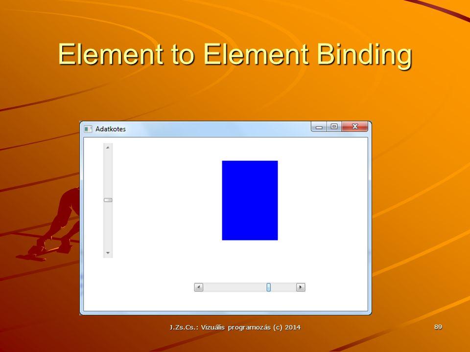 Element to Element Binding J.Zs.Cs.: Vizuális programozás (c) 2014 89