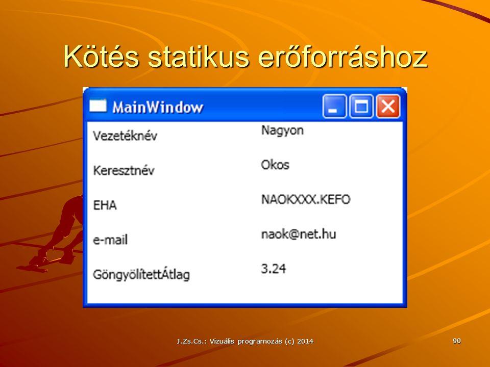 Kötés statikus erőforráshoz J.Zs.Cs.: Vizuális programozás (c) 2014 90