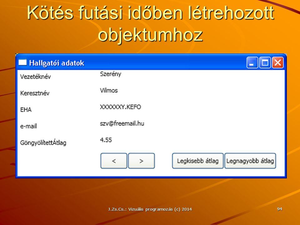 Kötés futási időben létrehozott objektumhoz J.Zs.Cs.: Vizuális programozás (c) 2014 94