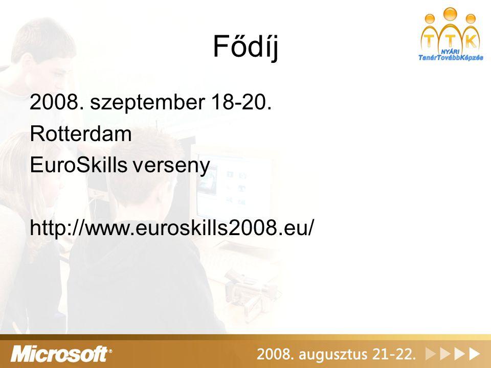 Fődíj 2008. szeptember 18-20. Rotterdam EuroSkills verseny http://www.euroskills2008.eu/