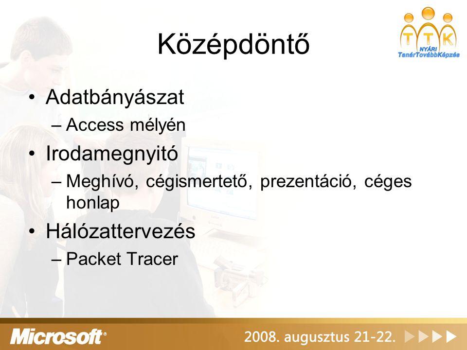 Középdöntő •Windows Small Business Server 2003 •Windows Server 2003 R2 Együttműködés, együttműködés, együttműködés