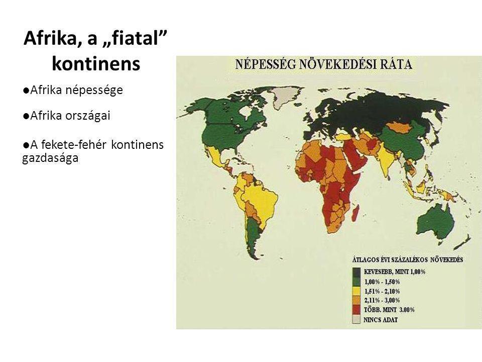"""Afrika, a """"fiatal"""" kontinens ●Afrika népessége ●Afrika országai ●A fekete-fehér kontinens gazdasága"""