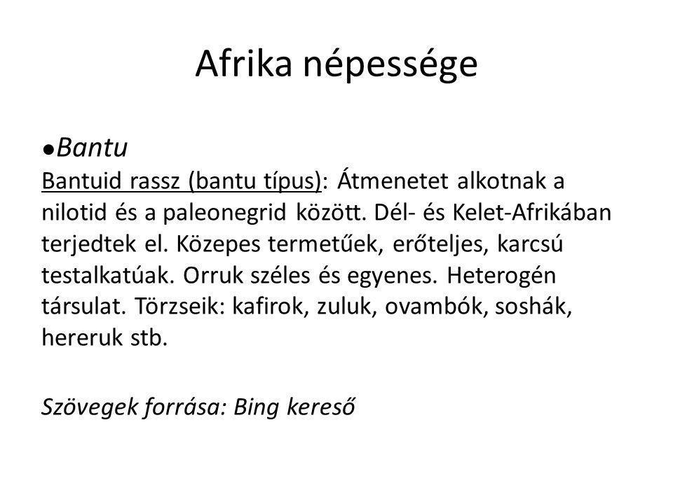 Afrika népessége ● Bantu Bantuid rassz (bantu típus): Átmenetet alkotnak a nilotid és a paleonegrid között. Dél- és Kelet-Afrikában terjedtek el. Köze