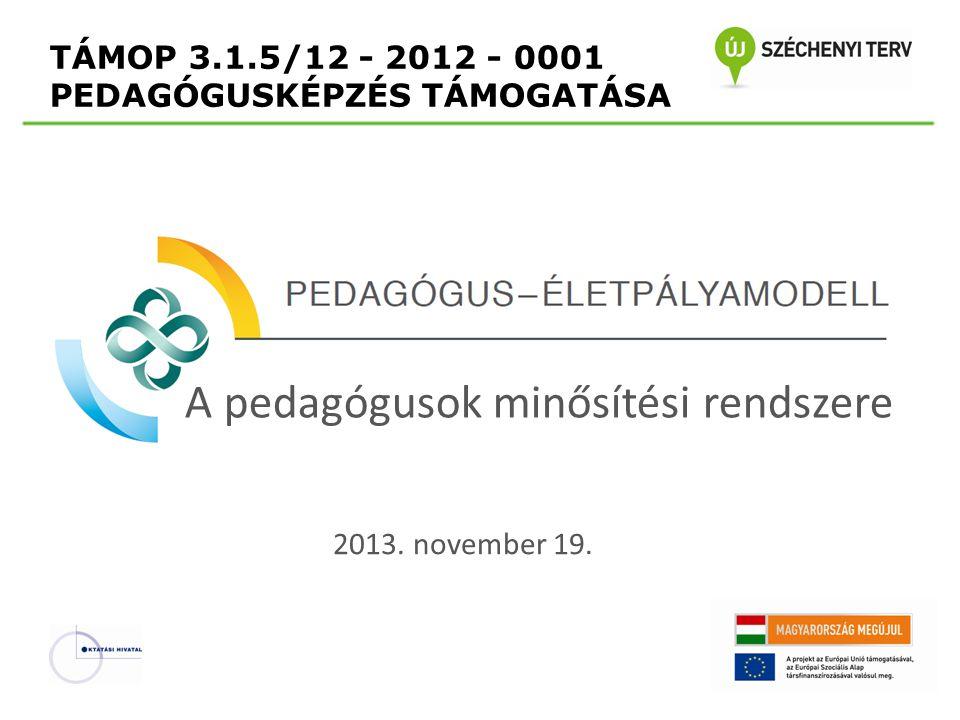 TÁMOP 3.1.5/12 - 2012 - 0001 PEDAGÓGUSKÉPZÉS TÁMOGATÁSA A pedagógusok minősítési rendszere 2013. november 19.