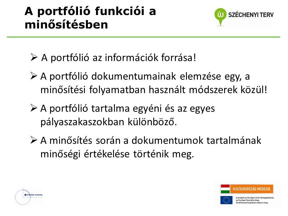 A portfólió funkciói a minősítésben  A portfólió az információk forrása!  A portfólió dokumentumainak elemzése egy, a minősítési folyamatban használ