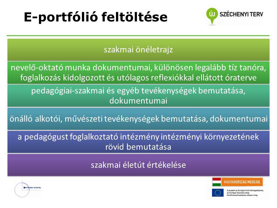 E-portfólió feltöltése szakmai önéletrajz nevelő-oktató munka dokumentumai, különösen legalább tíz tanóra, foglalkozás kidolgozott és utólagos reflexi