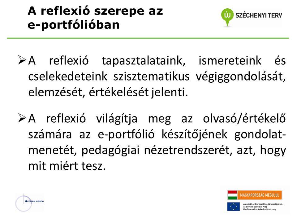 A reflexió szerepe az e-portfólióban  A reflexió tapasztalataink, ismereteink és cselekedeteink szisztematikus végiggondolását, elemzését, értékelésé