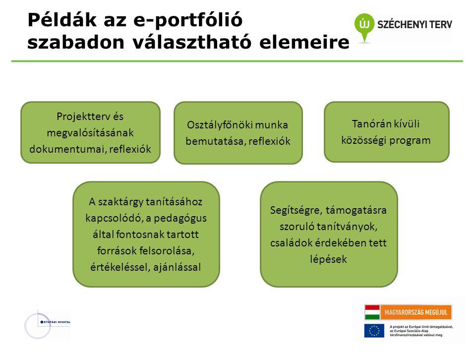Példák az e-portfólió szabadon választható elemeire Projektterv és megvalósításának dokumentumai, reflexiók Osztályfőnöki munka bemutatása, reflexiók