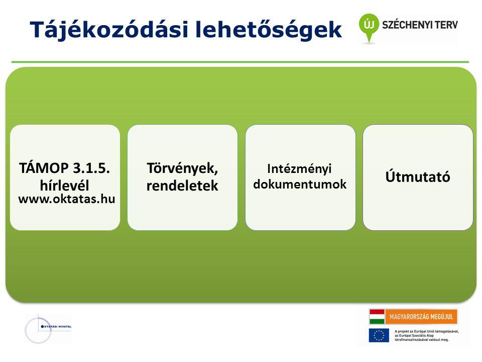 Tájékozódási lehetőségek TÁMOP 3.1.5. hírlevél Törvények, rendeletek Intézményi dokumentumok Útmutató www.oktatas.hu