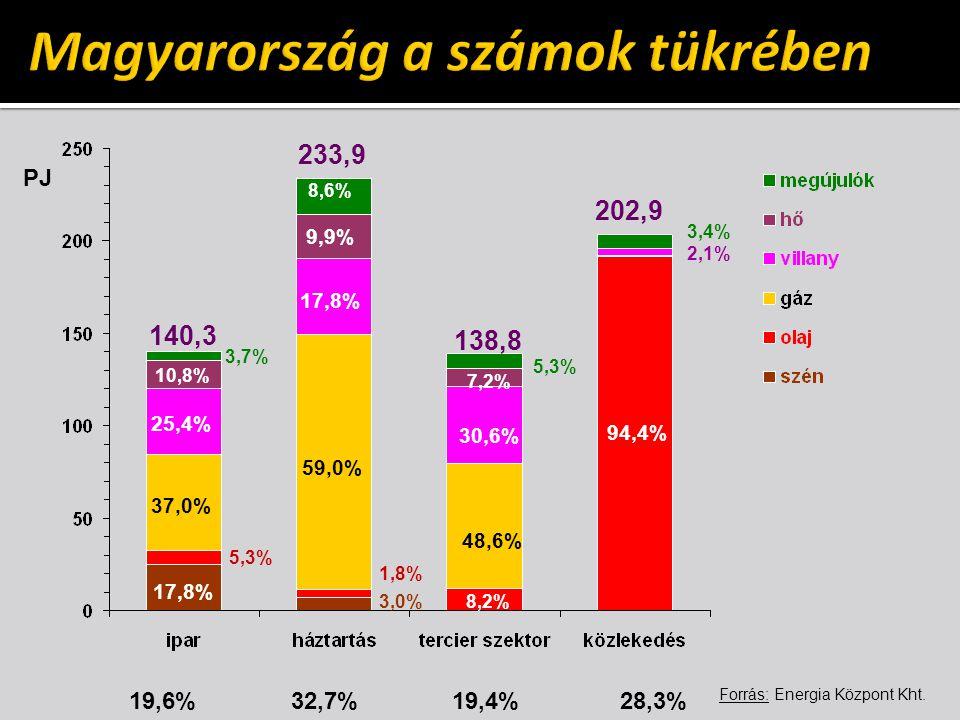 140,3 233,9 138,8 202,9 9,9% 7,2% 94,4% 10,8% 17,8% 30,6% 17,8% 59,0% 48,6% 8,6% 1,8% 5,3% 3,4% 3,0%8,2% 19,6% 32,7% 19,4% 28,3% PJ Forrás: Energia Kö