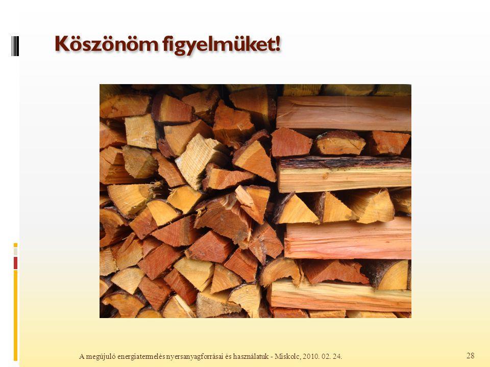 Köszönöm figyelmüket. A megújuló energiatermelés nyersanyagforrásai és használatuk - Miskolc, 2010.