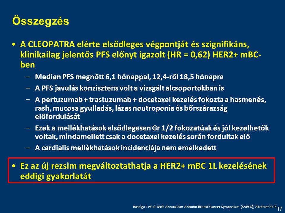 17 Összegzés •A CLEOPATRA elérte elsődleges végpontját és szignifikáns, klinikailag jelentős PFS előnyt igazolt (HR = 0,62) HER2+ mBC- ben –Median PFS