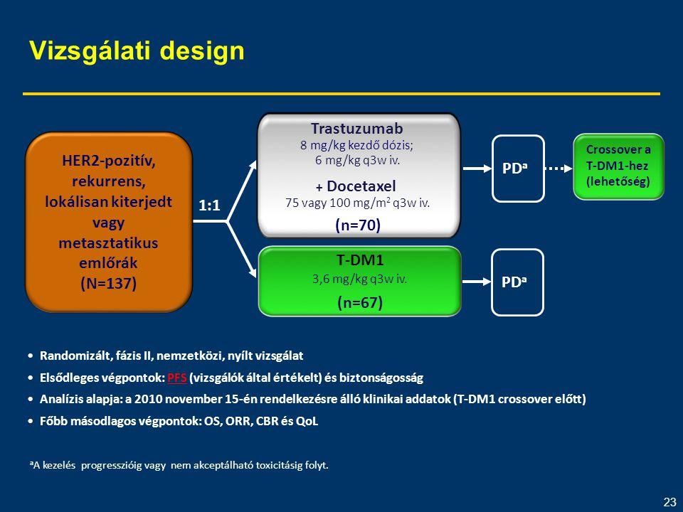 23 Vizsgálati design •Randomizált, fázis II, nemzetközi, nyílt vizsgálat •Elsődleges végpontok: PFS (vizsgálók által értékelt) és biztonságosság •Anal