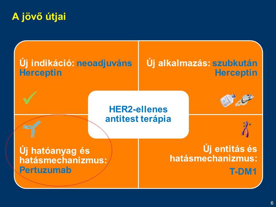 6 A jövő útjai Új indikáció: neoadjuváns Herceptin Új alkalmazás: szubkután Herceptin Új hatóanyag és hatásmechanizmus: Pertuzumab Új entitás és hatás