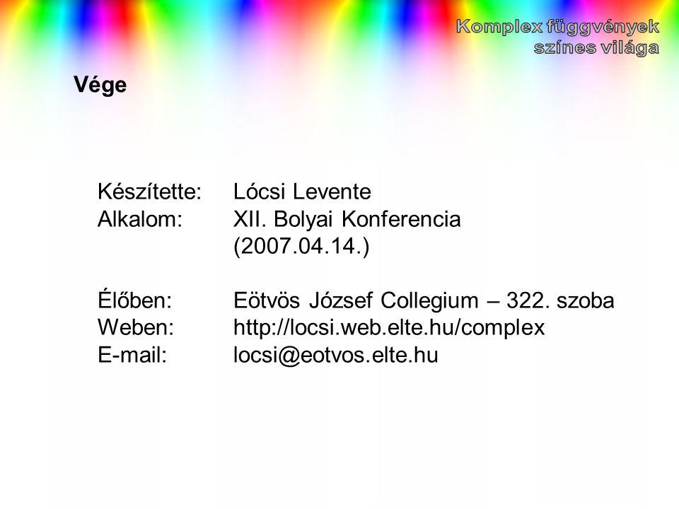 Vége Készítette:Lócsi Levente Alkalom:XII. Bolyai Konferencia (2007.04.14.) Élőben:Eötvös József Collegium – 322. szoba Weben:http://locsi.web.elte.hu