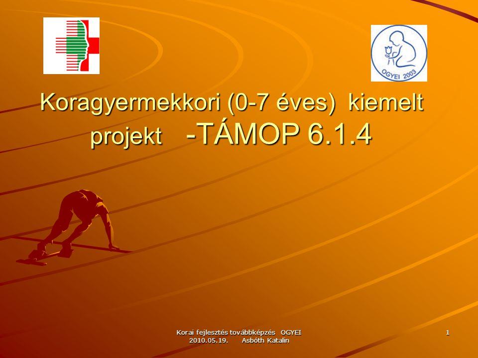 Korai fejlesztés továbbképzés OGYEI 2010.05.19. Asbóth Katalin 1 Koragyermekkori (0-7 éves) kiemelt projekt -TÁMOP 6.1.4