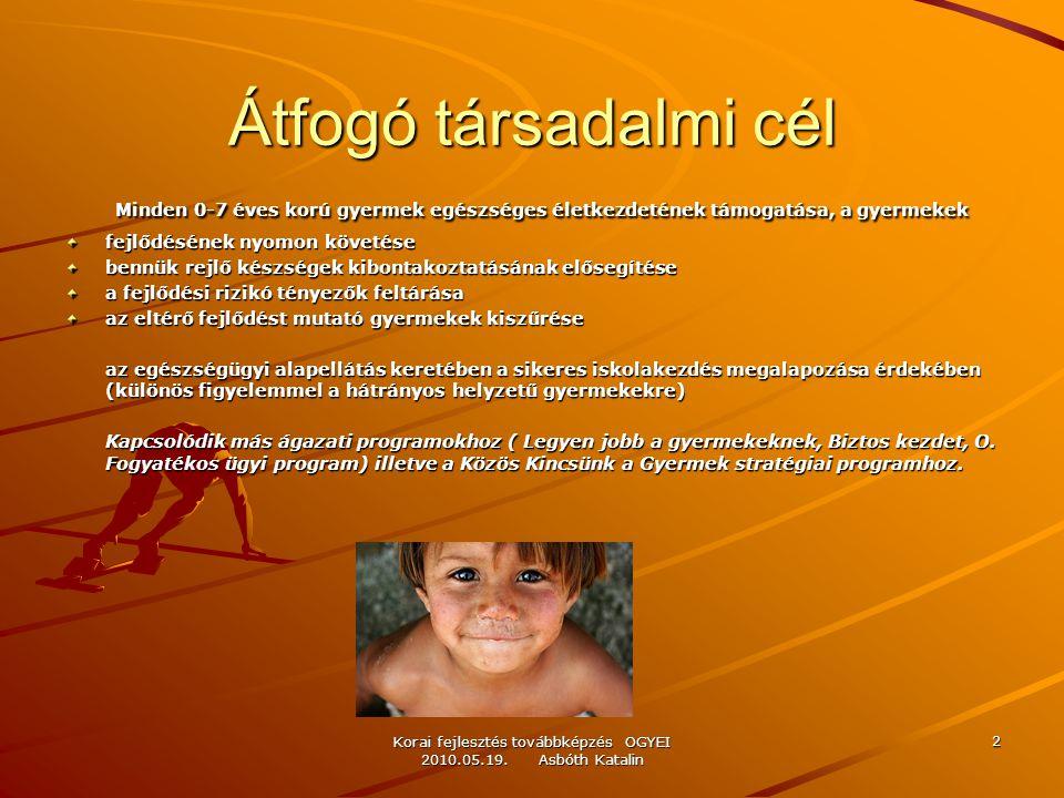 Korai fejlesztés továbbképzés OGYEI 2010.05.19. Asbóth Katalin 2 Átfogó társadalmi cél Minden 0-7 éves korú gyermek egészséges életkezdetének támogatá