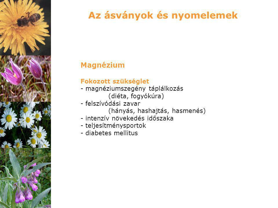 Magnézium Fokozott szükséglet - magnéziumszegény táplálkozás (diéta, fogyókúra) - felszívódási zavar (hányás, hashajtás, hasmenés) - intenzív növekedé