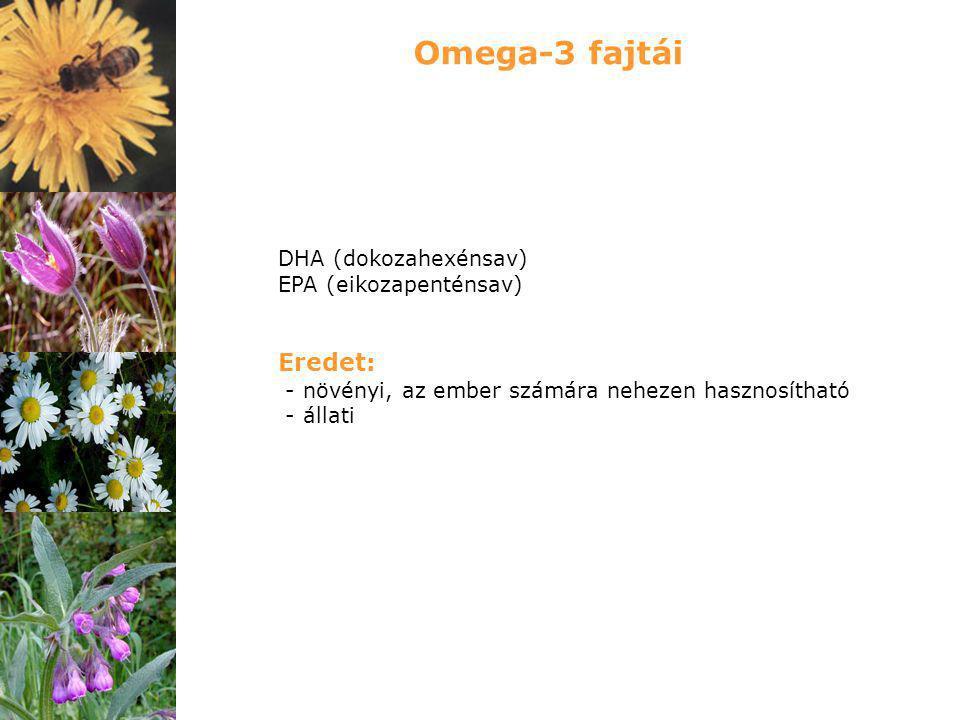 DHA (dokozahexénsav) EPA (eikozapenténsav) Eredet: - növényi, az ember számára nehezen hasznosítható - állati Omega-3 fajtái