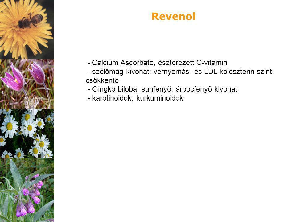 - Calcium Ascorbate, észterezett C-vitamin - szőlőmag kivonat: vérnyomás- és LDL koleszterin szint csökkentő - Gingko biloba, sünfenyő, árbocfenyő kiv