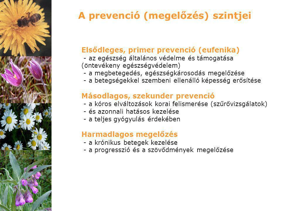 Elsődleges, primer prevenció (eufenika) - az egészség általános védelme és támogatása (öntevékeny egészségvédelem) - a megbetegedés, egészségkárosodás