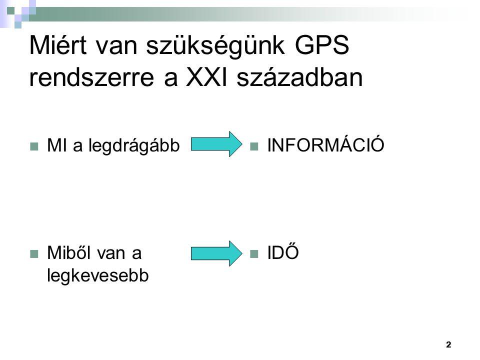 2 Miért van szükségünk GPS rendszerre a XXI században  MI a legdrágább  Miből van a legkevesebb  INFORMÁCIÓ  IDŐ