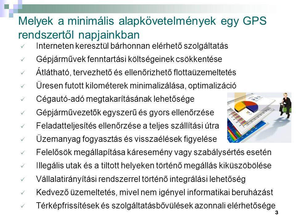 3 Melyek a minimális alapkövetelmények egy GPS rendszertől napjainkban  Interneten keresztül bárhonnan elérhető szolgáltatás  Gépjárművek fenntartás