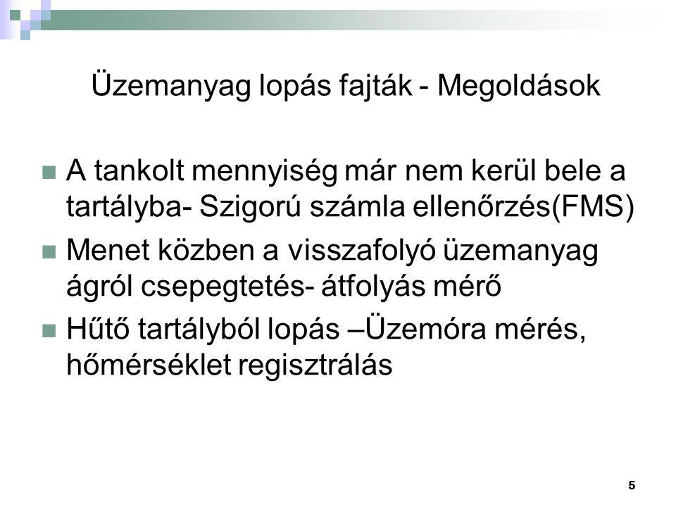 5 Üzemanyag lopás fajták - Megoldások  A tankolt mennyiség már nem kerül bele a tartályba- Szigorú számla ellenőrzés(FMS)  Menet közben a visszafoly