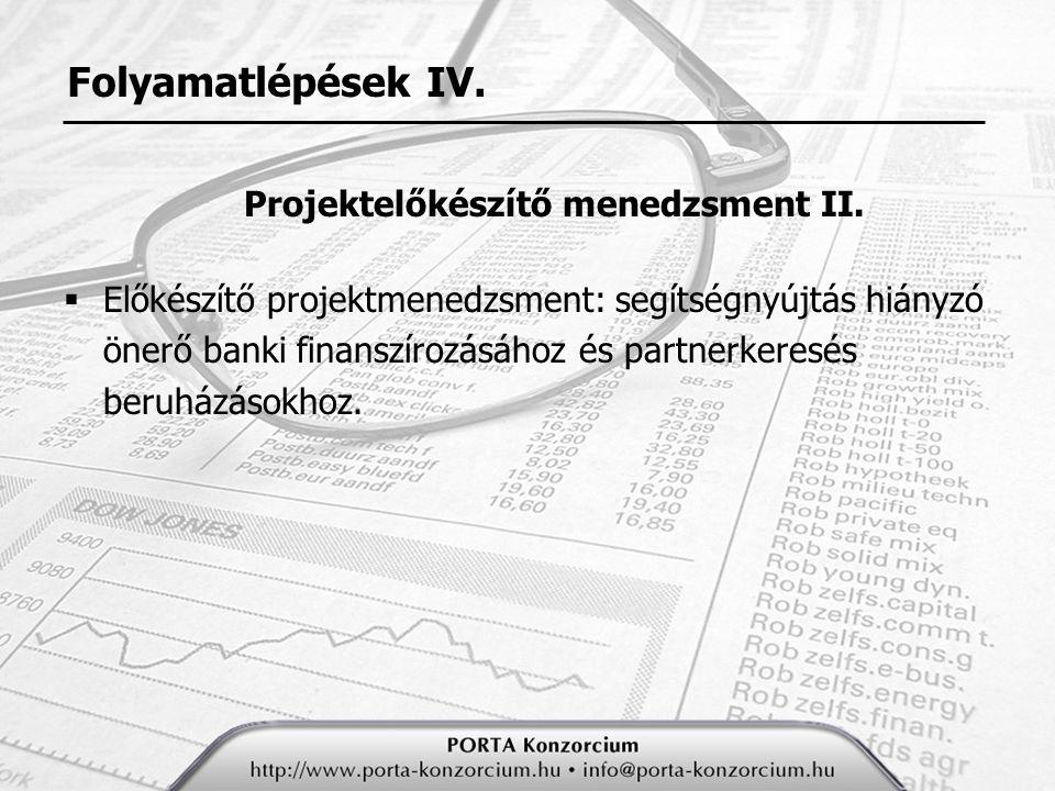 Folyamatlépések IV.Projektelőkészítő menedzsment II.