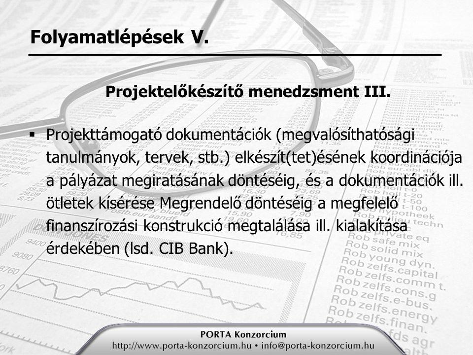 Folyamatlépések V.Projektelőkészítő menedzsment III.